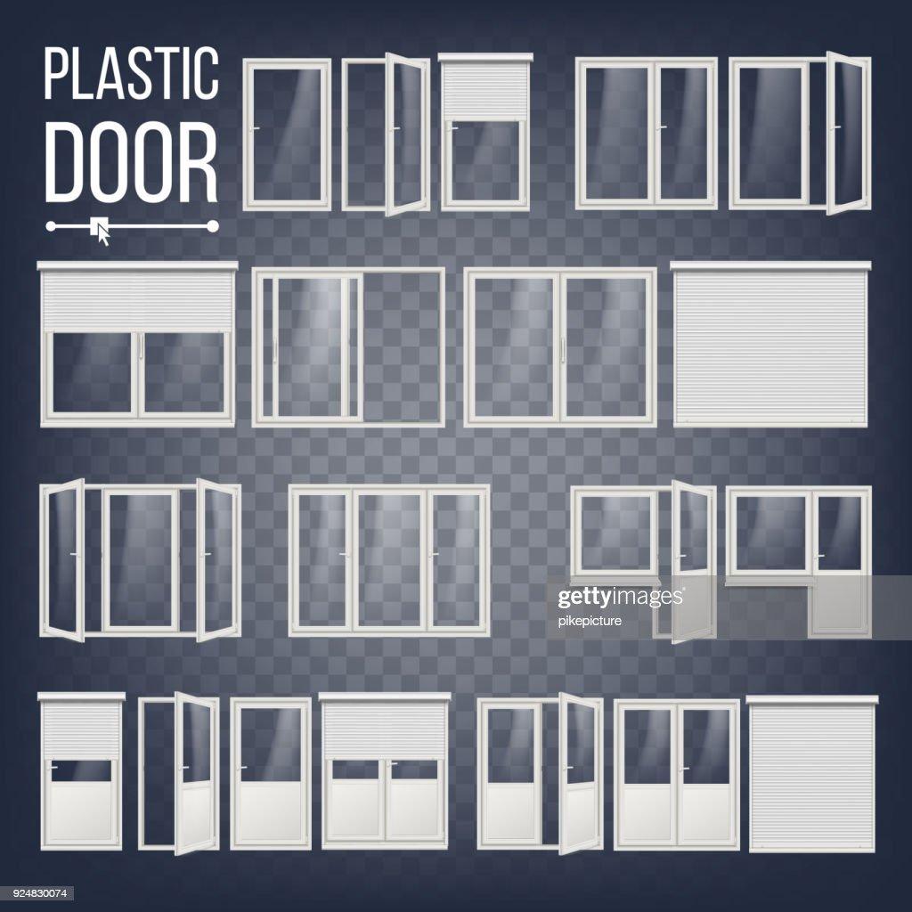 Plastic Door Vector. Plastic Door Frame. Energy Saving. Different Types. Interior, Exterior Element. Isolated On Transparent Background Illustration