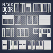 Plastic Door Vector. Plastic Door Frame. Energy Saving. Different Types. Interior, Exterior Element. Isolated On Transparent Background Illustration