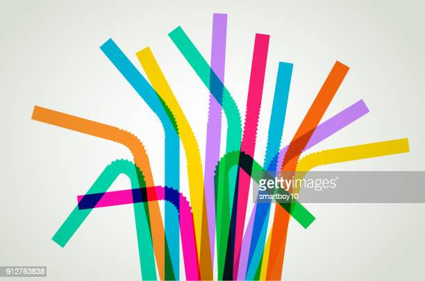 plastic drinking straws - water pollution stock illustrations