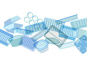 Plastic food containers, trays or packaging