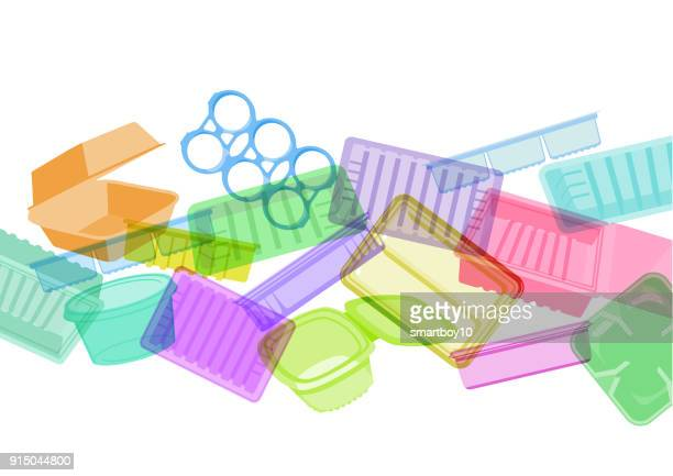 plastic food containers, trays or packaging - packaging stock illustrations
