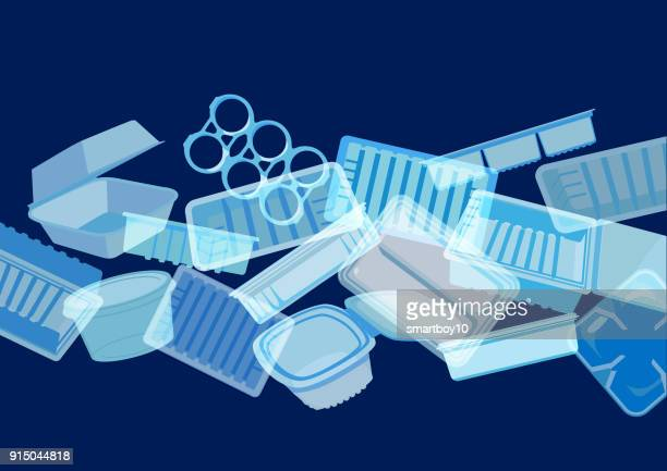 plastic food containers, trays or packaging - water pollution stock illustrations