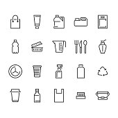 Plastic packaging, disposable tableware line icons. Product packs, container, bottle, canister, plates cutlery Container thin signs, waste recycling. Pixel perfect 48x48