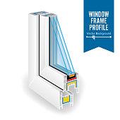 Plastic Profile Energy Saving Window. Three Transparent Glass. Vector Illustration