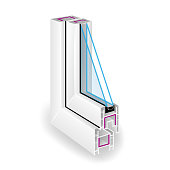 Plastic Profile Frame Window. Two Transparent Glass. Sectional View. Vector Illustration