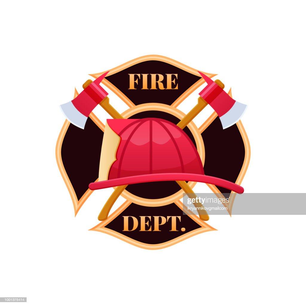 Plastic red fire helmet, fighting fire. Fire dept logo icon