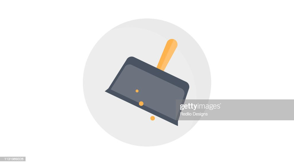 Plastic scoop for cleaning garbage Dustpan Icon : stock illustration