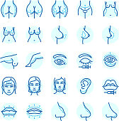 Plastic surgery body parts correction infographic icons amedical vector illustration