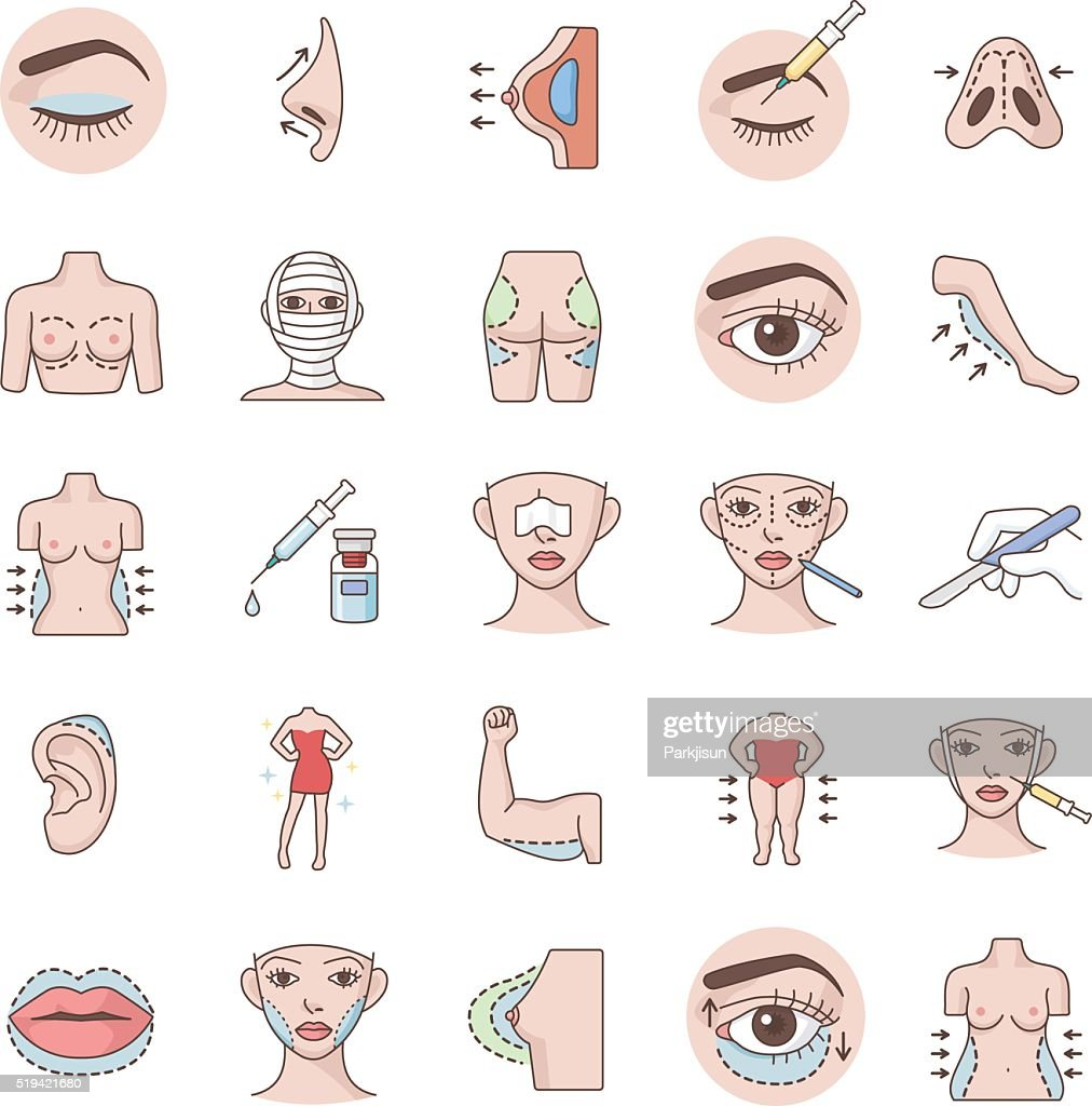 Plastic surgery color vector icons