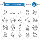 Plastic surgery concept Black thin line icons Vector Medical symbols