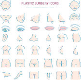 Plastic surgery face correction infographic icons woman body parts beauty health procedure vector illustration
