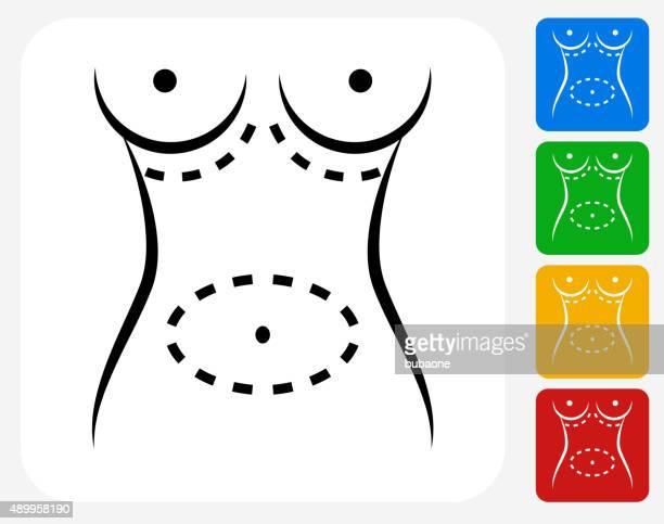 ilustraciones, imágenes clip art, dibujos animados e iconos de stock de cirugía plástica iconos planos de diseño gráfico - aumento de senos