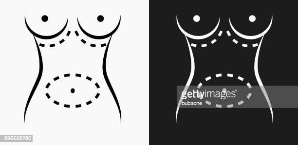 ilustraciones, imágenes clip art, dibujos animados e iconos de stock de cirugía plástica icono en blanco y negro vector fondos - aumento de senos