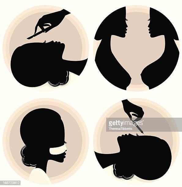 ilustraciones, imágenes clip art, dibujos animados e iconos de stock de cirugía plástica - aumento de senos