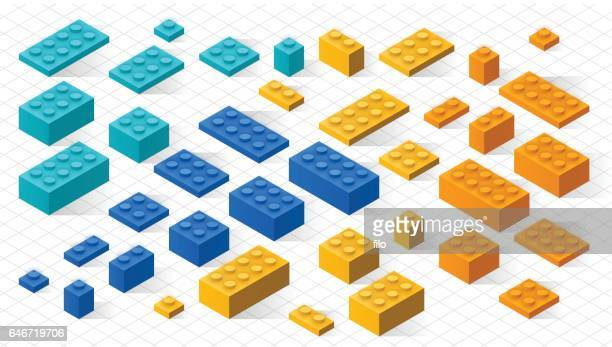 plastic toy blocks - bloco stock illustrations