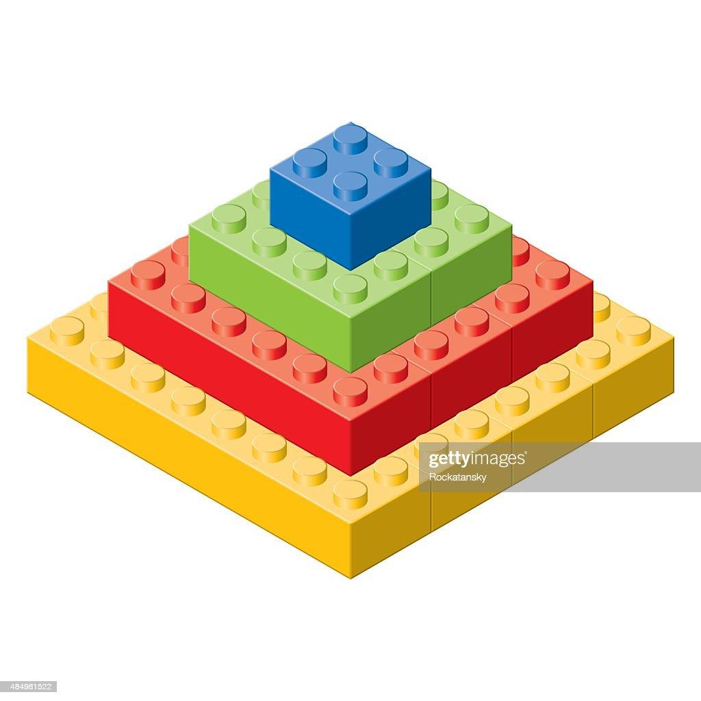 Plastic toy brick pyramid.