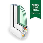 Plastic Window Frame Profile. Energy Efficient Window Cross Section. Three Transparent Glass. Vector Illustration