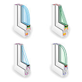 Plastic Window Frame Profile Set. Energy Efficient Window Cross Section. Two And Three Transparent Glass. Vector Illustration