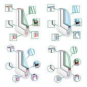 Plastic Window Frame Profile Set. Structure Corner Window. Infographic Templeate. Vector Illustration