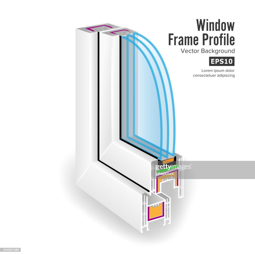 Plastic Window Frame Profile. Structure Corner Window. Three Transparent Glass. Vector Illustration