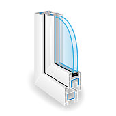 Plastic Window Frame Profile. Two Transparent Glass. Vector Illustration Of Structure