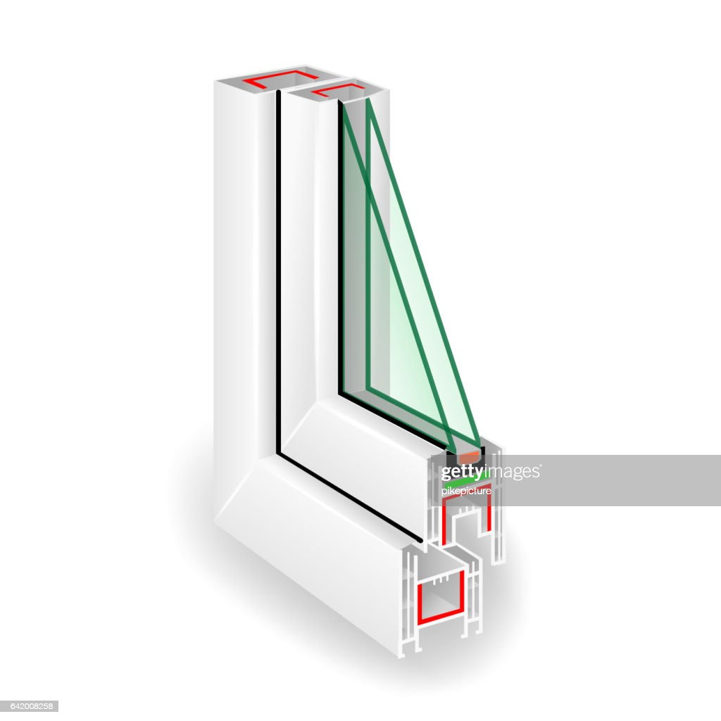Plastic Window Frame Profile. Two Transparent Glass. Vector Illustration