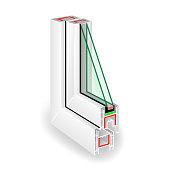 Plastic Window Frame Profile. Two Transparent Glass. Vector Illustration
