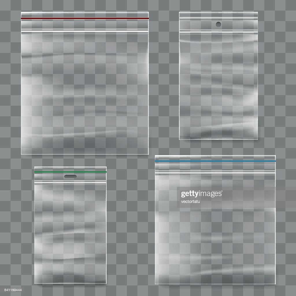 Plastic zipper bag vector template