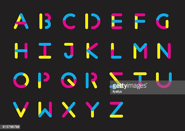 plasticine alphabet - multiple exposure stock illustrations