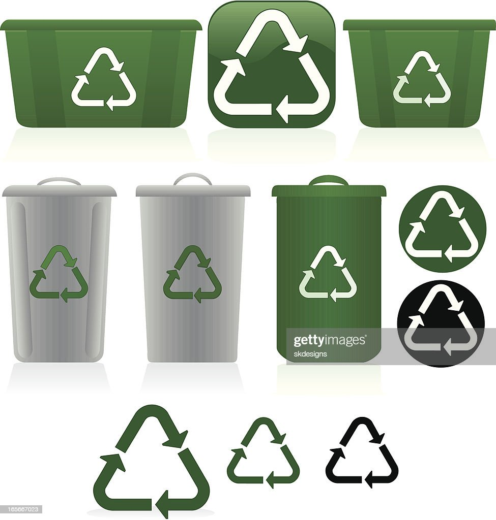 Plastics recycling symbols and bins set green white gray vector plastics recycling symbols and bins set green white gray biocorpaavc