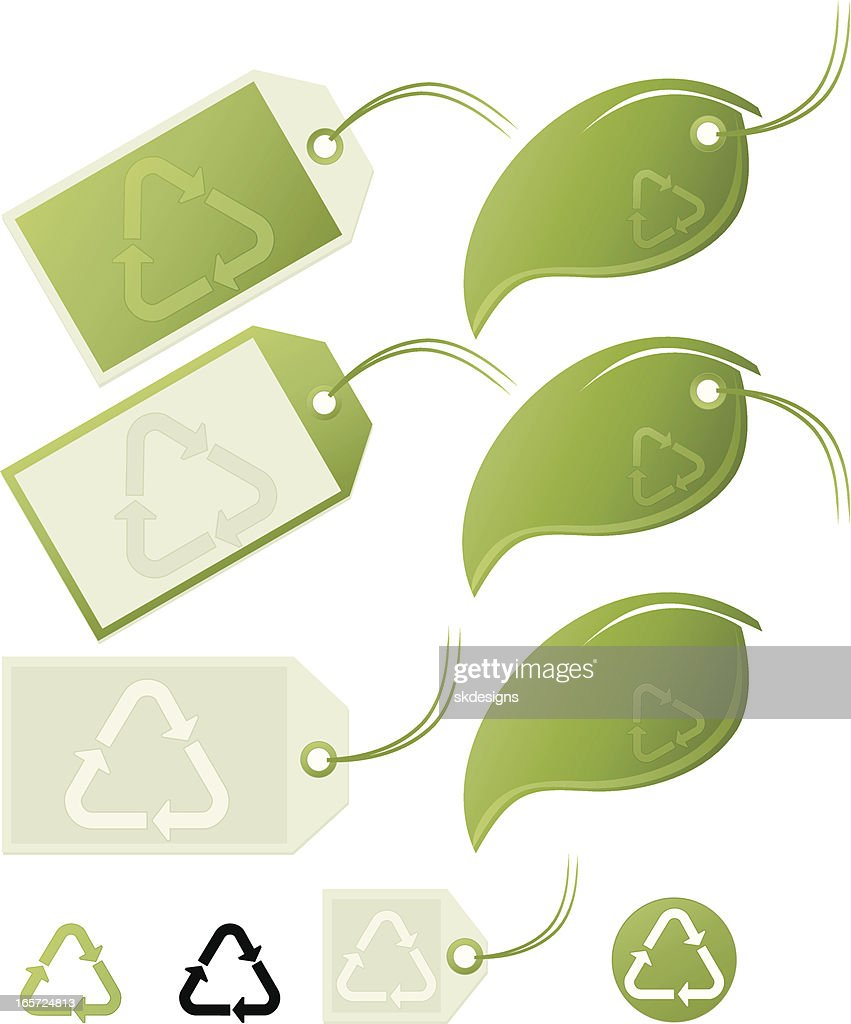 Plastics Recycling Symbols Labels Green Leaf Tags Set Vector Art