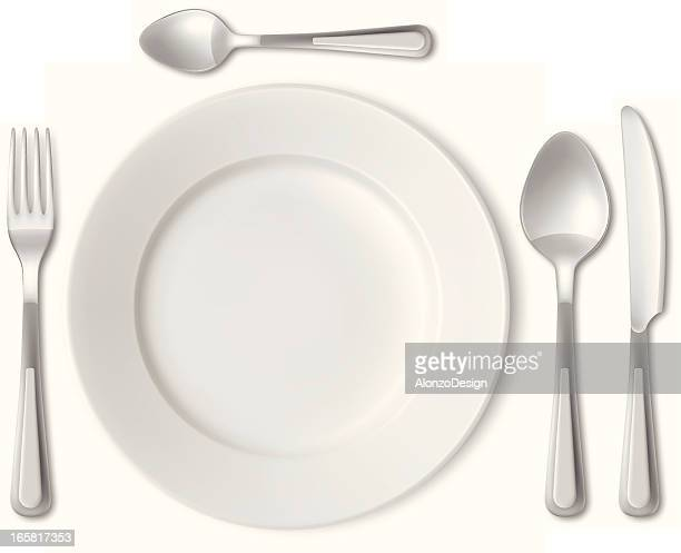 plate and cutlery - arranging stock illustrations