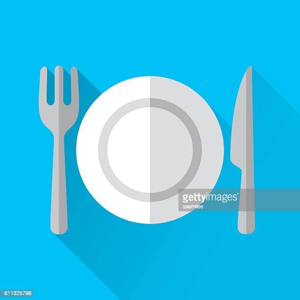 ilustraciones, imágenes clip art, dibujos animados e iconos de stock de placa y cubiertos  - mesa de comedor