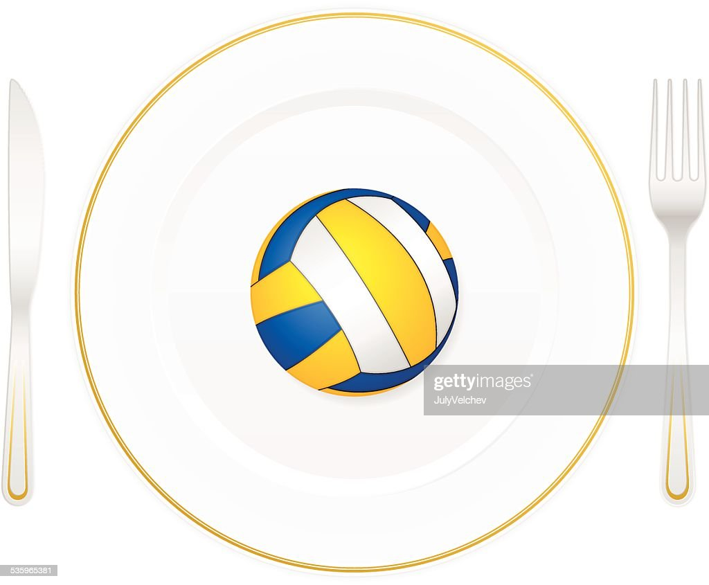 plate and volleyball ball : Vector Art