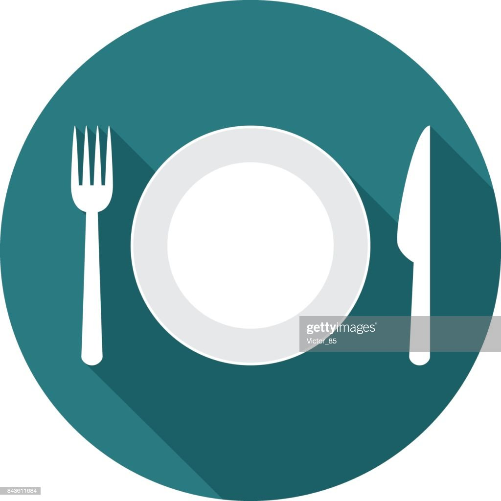 Plate circle icon with long shadow. Flat design style.