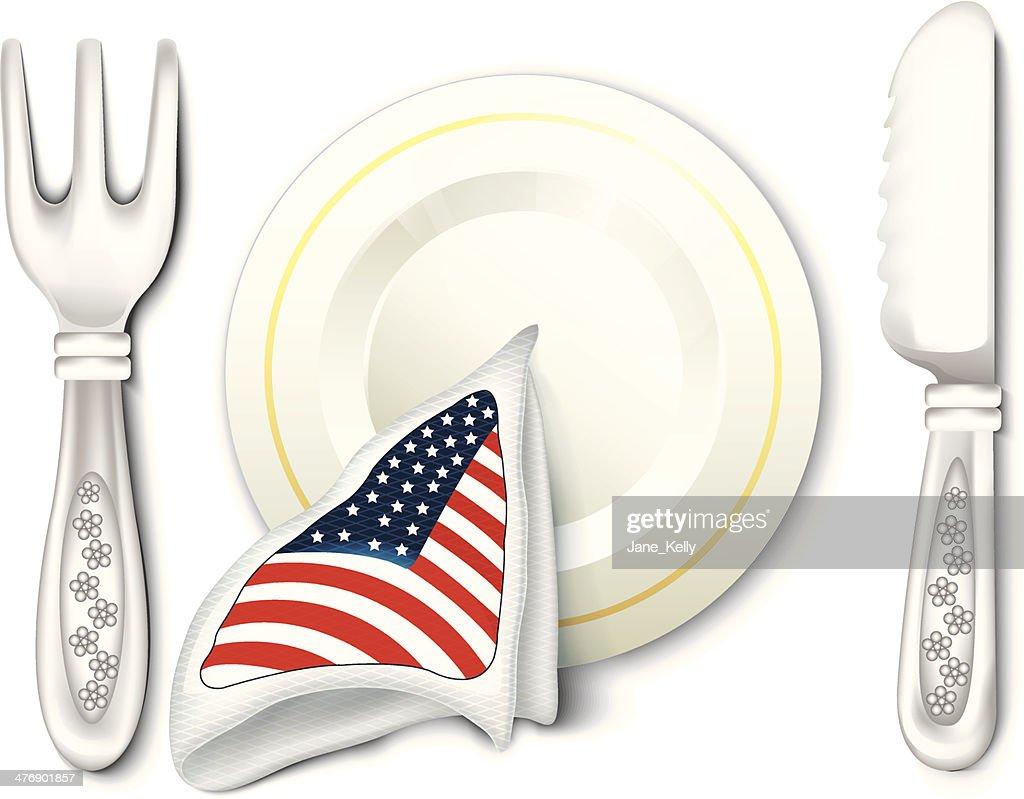 Plate Fork Knife with USA Flag