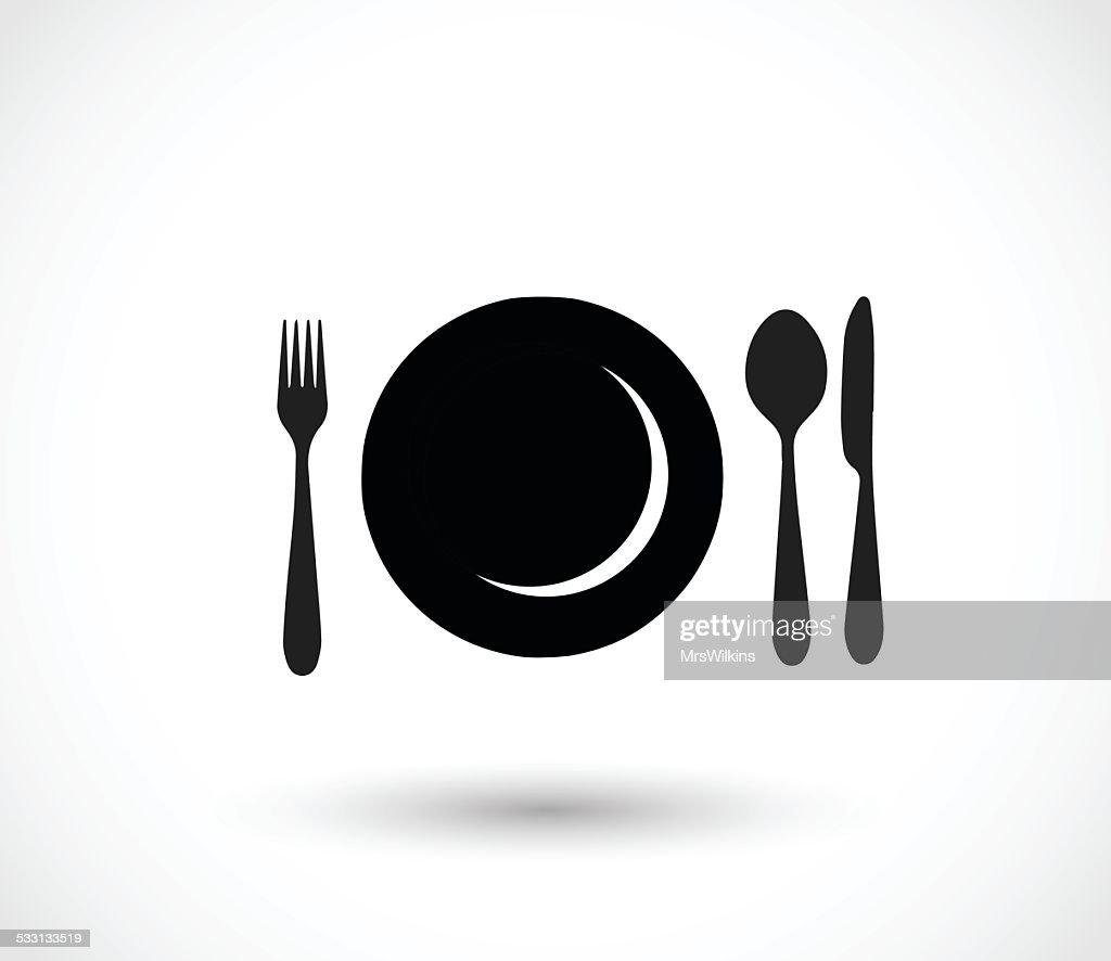 Plate, fork, spoon and knife icon set vector illustration