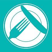 Plate, knife and fork. Restaurant menu design