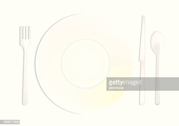 plate set - kitchenware department stock illustrations, clip art, cartoons, & icons