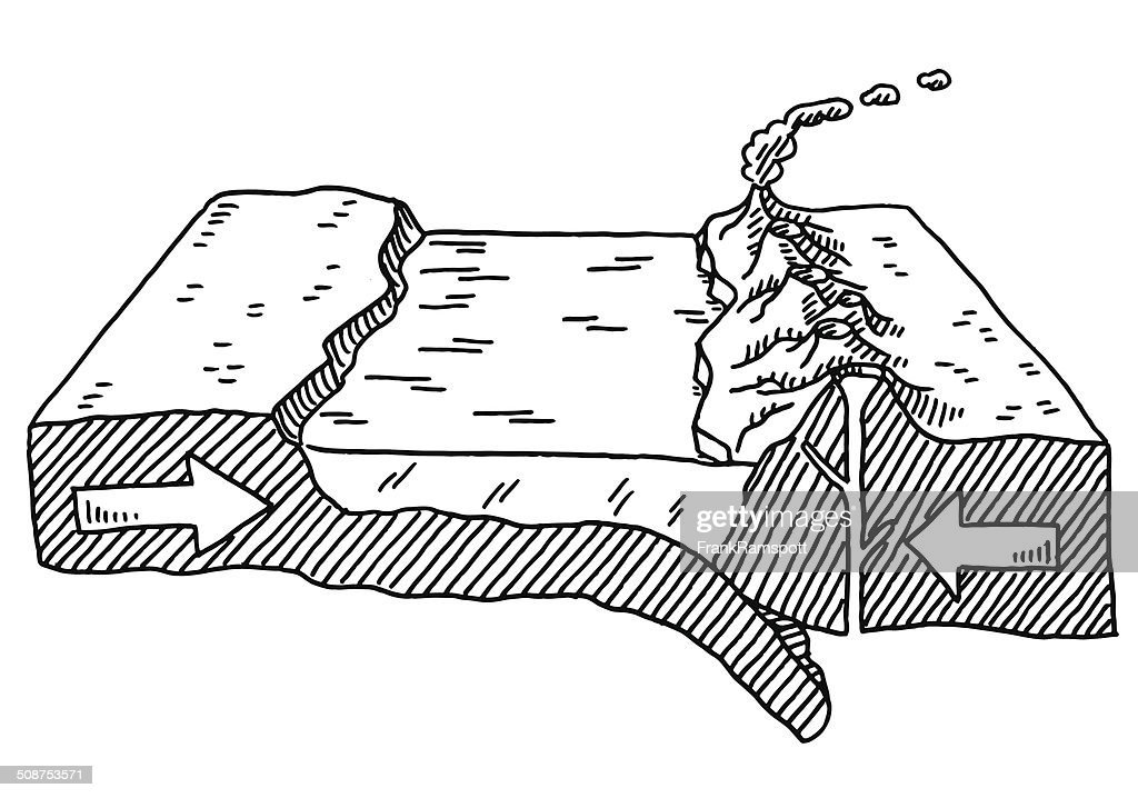 Plate Tectonics Deep Sea Rift Volcano Drawing : stock illustration