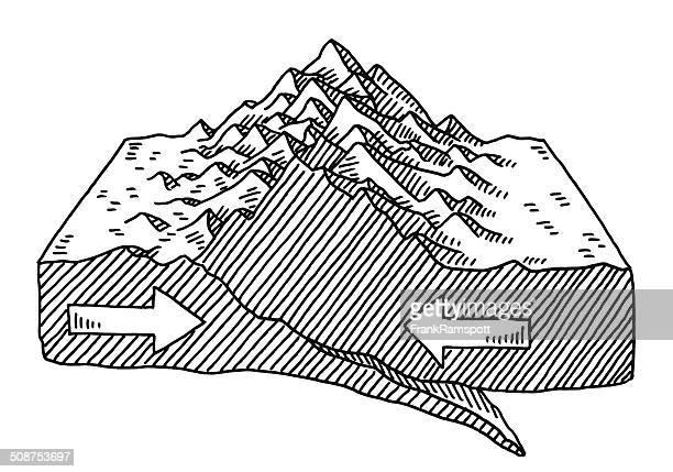 ilustraciones, imágenes clip art, dibujos animados e iconos de stock de placa de formación de dibujo tectonics a las montañas - corteza terrestre