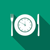 Plate with clock, fork and knife icon isolated with long shadow. Lunch time. Eating, nutrition regime, meal time and diet concept. Flat design. Vector Illustration
