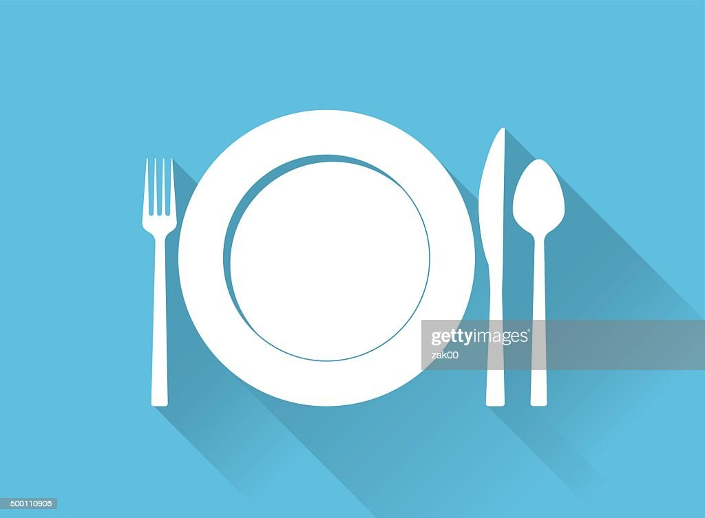 Plate with cutlery and long shadows : Stockillustraties