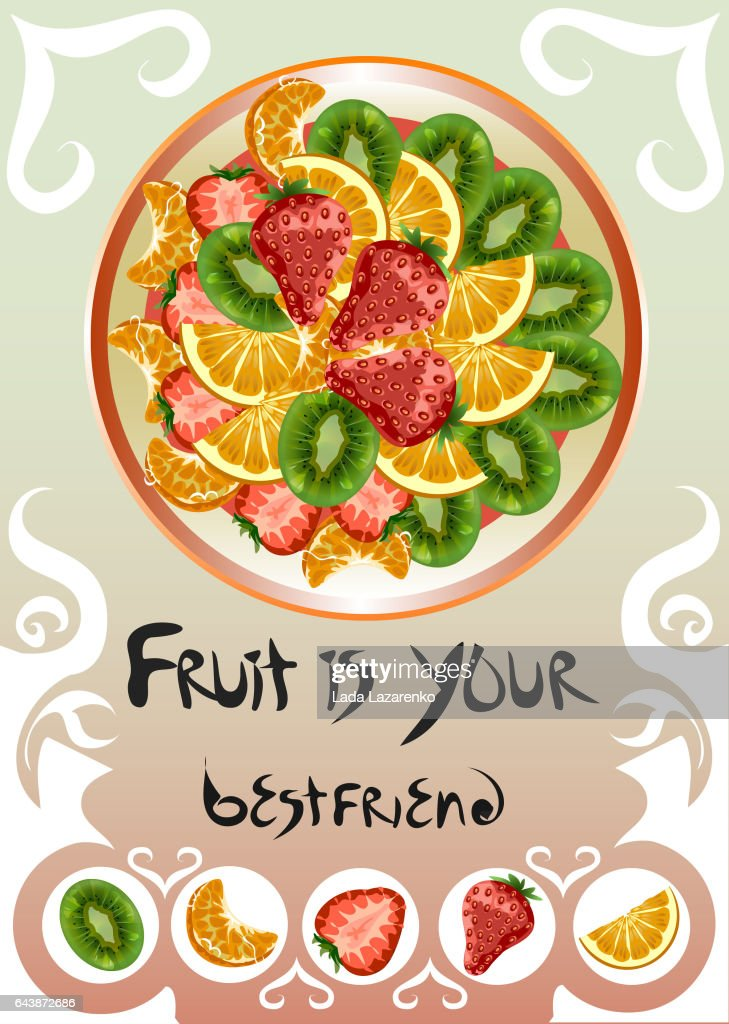 Plate with different fruits
