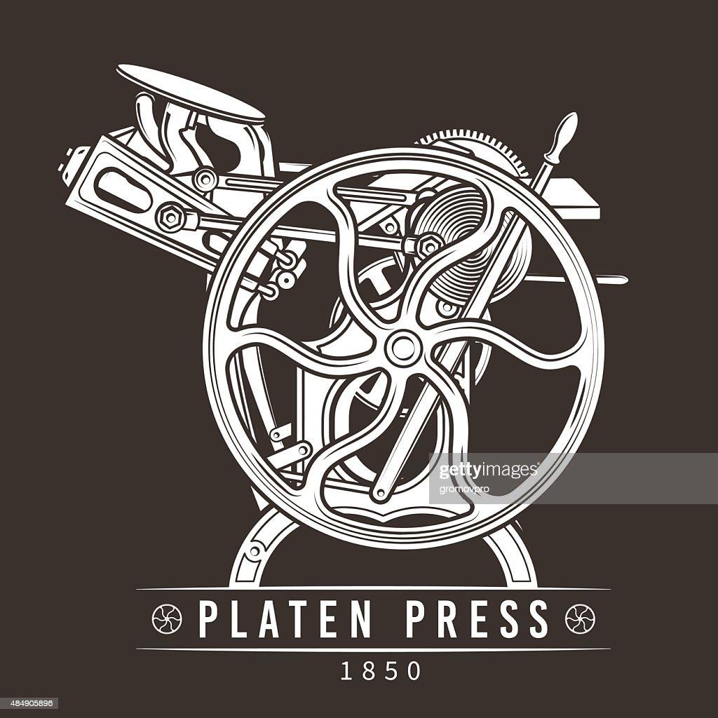 Platen press vector illustration. Old letterpress logo design. Vintage printing