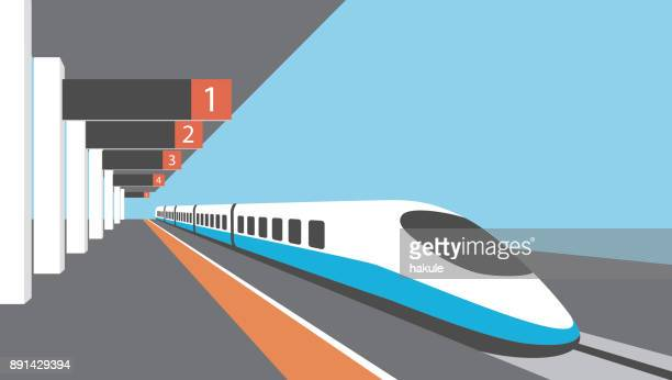 platform of railway station with hight-speed train - railway station stock illustrations