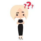 Platinum blonde lady is asking a question