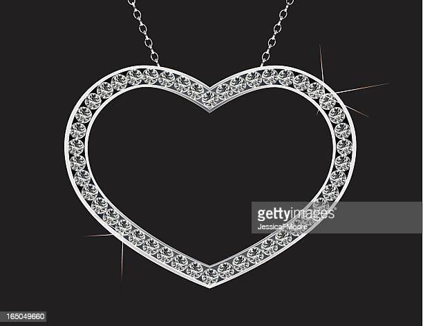 platinum heart of diamonds - white gold stock illustrations