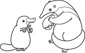 Platypus and anteater brush their teeth with toothbrushes. Picture for coloring, outline.
