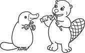 Platypus and beaver brush their teeth with toothbrushes. Picture for coloring, outline.